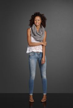 A beautiful sheet mesh top pairs perfectly with the confident, carefree spirit of Perfume No. 1 and your favorite Premium Stretch jeggings. Layer on a warm knit scarf to complete the look.