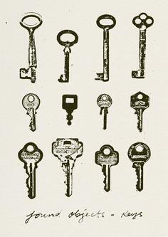 This print is part of a series based on collections of objects found around the house. These are spare keys found in a drawer. Limited edition of Signed & numbered by the artist. Each print is i. Lisa Milroy, Collections Of Objects, Old Keys, Copy Print, Vintage Keys, Vintage Paper, Key To My Heart, Find Objects, Illustration