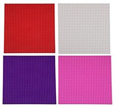 "Premium Red, White, Pink, and Purple Valentine's Day Stackable Base Plates - 4 Pack 10"" x 10"" Baseplate Holiday Color Bundle with 60 Bonus Building Bricks (LEGO® Compatible) - Tower Construction"