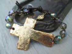 ANNIVERSARY SPECIAL Sideways cross bracelet  BLESSED by slashKnots, $25.00