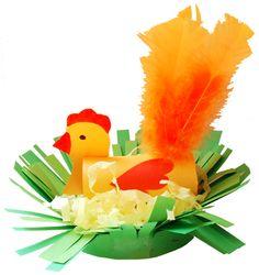 Poule de Pâques avec une queue de plumes dans son nid - Tête à modeler