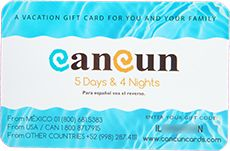 A week in paradise! Sound like a dream? Make your dreams a reality with the Cancun Travel Card—a vacation gift card for your next Cancun getaway.  Get the card and enjoy a five-day, four-night retreat in Riviera Maya, Cancun, Mexico. Gift Package ($600 value) After the purchase of the Cancun Travel Card, you pay $189 total for two adults and two children.