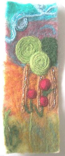 Needle Felted Landscape for bookmark - FIBER ARTS - I made this a few months ago for a bookmark swap on another forum. I scanned the piece into the pc, printed it off onto photo paper, and cut it Wool Needle Felting, Wet Felting, Craft Tutorials, Craft Projects, Craft Ideas, Felt Bookmark, Wool Felt, Felted Wool, Silk Painting