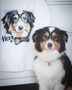 Girls custom pet tshirt with australian shepherd