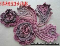 ergahandmade: Colorful Crochet Shawl With Roses + Pattern Step By Step