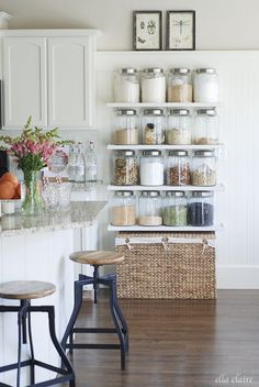 Love this idea! Great use of space and fun display to add texture to your kitchen.