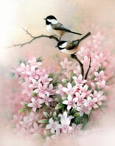 Chickadee and Flowers Archival reproduction of my original watercolor Image area: 8 x 10 (Portrait orientation) or Image area: 12 x 16 x 20 Archiv. Watercolor Images, Watercolor Bird, Watercolor Paintings, Abstract Paintings, Art Paintings, Painting Art, Watercolor Artists, Indian Paintings, Online Painting