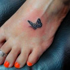Small 3d butterfly tattoo on foot