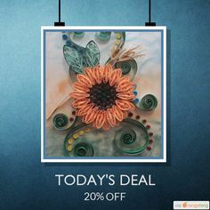 Today Only! 20% OFF this item. Follow us on Facebook, Instagram, & Twitter  www.etsy.com/shop/cre8tivedezinez #cre8tivedezinez @cre8tivedezinez  Today's Product: Quilled Sunflower & Leaves in Shadowbox Frame - Handmade - Quilling - Floral - Shadow Box - Unique Gift - One-of-a-Kind Buy now: https://www.etsy.com/listing/231616090?utm_source=Pinterest&utm_medium=Orangetwig_Marketing&utm_campaign=sale   #etsy #etsyseller #etsyshop #etsylove #etsyfinds #etsygifts #musthave #loveit #instacool…