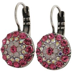 Mariana Silver Plated Moondust Round Swarovski Crystal Earrings, Pink 1141 3111. Available at www.regencies.com