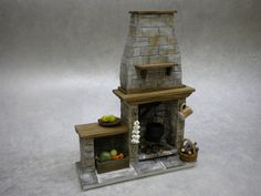 Miniature Medieval Stone Dollhouse Fireplace - Cottage / Tudor / Medieval  Here we have another very realistic and original handmade