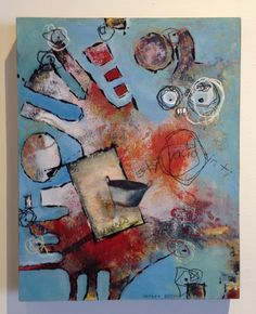 "El Cazo #36 (Estoy Vacio Sin Ti), by artist Andie Bogdan, Mixed media on wood, 11"" x 14"" - SOLD"