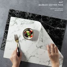 Luxury Pu Leather Placemat Black White Marble Pattern Table Mat Heat Insulation Waterproof Placemats Bowl Coaster 45x32cm 1pcs Placemats Table Mats Marble Mugs