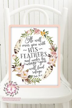 Psalm 91:4 He Will Cover You With His Feathers Boho Nursery Print Wall Art Watercolor Baby Room Printable Decor