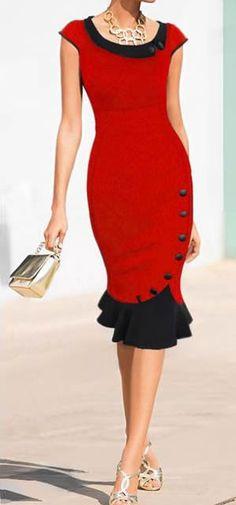 New Dress Red Beautiful Fashion Ideas Women's Dresses, Vintage Midi Dresses, Vestidos Vintage, Trendy Dresses, Elegant Dresses, Beautiful Dresses, Dress Outfits, Nice Dresses, Evening Dresses