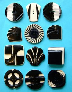 12-Vintage-Art-Deco-Carved-Layered-Black-Cream-Celluloid-Buttons