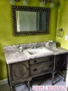 Turning A Buffet Into A Bathroom Vanity By Simple Redesign - Featured On Furniture Flippin'