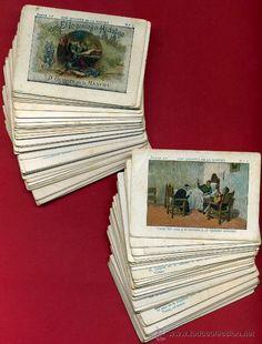 DON QUIJOTE DE LA MANCHA ,COLECCION COMPLETA, 100 CROMOS ,DIFERENTES REVERSOS CHOCOLATE. 1 Y 2 PARTE (Coleccionismo - Cromos y Álbumes - Cromos Antiguos)