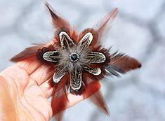 Real feather clip Boho hair jewelry Feather by Reva4kaHandmade