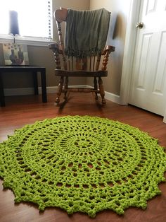 Large Crochet Doily Rug Lime Green Shabby Chic Rug by EvaVillain, $115.00