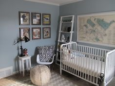 vintage nursery with framed wall map