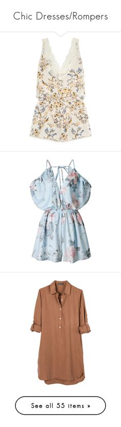 """""""Chic Dresses/Rompers"""" by thedailywear ❤ liked on Polyvore featuring jumpsuits, rompers, romper, jumpsuit, playsuit, dresses, tops, cream, white floral romper and floral rompers"""