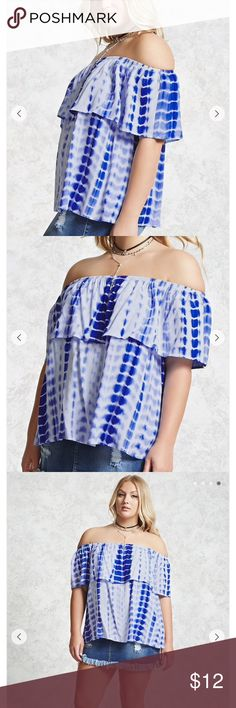 Tie dye off the should top Forever 21+ - A woven top featuring an allover tie-dye wash, an elasticized off-the-shoulder flounce neckline, and short sleeves. - 100% rayon - Hand wash cold Forever 21 Tops Blouses