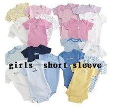 5pcs / lot verão de manga curta de algodão macacões de criança Suit Bebê Carters macacão Boy Girl projeto multicor de Carter em Body de Bebê...