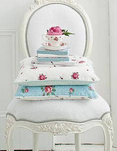 Royal Albert Square Cushion - Polka Blue and Rose Confetti with Green Polka Dot, 16x16in