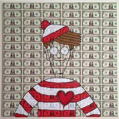 """A badass @odlaw_ original on dollar bills! #whereswaldo #dollarart #artbotic #artist"" Photo taken by @artbotic on Instagram, pinned via the InstaPin iOS App! http://www.instapinapp.com (03/05/2015)"