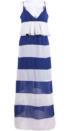 Blue Apricot V-neck Spaghetti Strap Maxi Chiffon Dress #SheInside