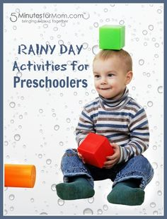 Do your kids get bored when it's raining outside? Here's a Round Up of Rainy Day Activities for Preschoolers to keep them busy and happy inside...