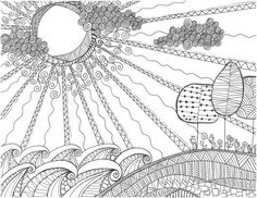 swirly sun landscape coloring page by musingsbynikki on etsy