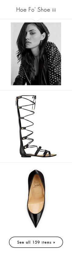 """""""Hoe Fo' Shoe iii"""" by alba-mudarra ❤ liked on Polyvore featuring me, shoes, sandals, laced up gladiator sandals, studded gladiator sandals, roman sandals, gold colored sandals, bohemian sandals, pumps and christian louboutin"""