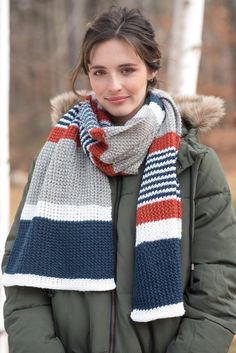 Melville is a fun free scarf knitting pattern made with four shades of Berroco Ultra Wool DK. Alternating-width stripes and a textured stitch pattern create a long scarf that is enjoyable to knit and just as nice to wear. With 29 colors of Ultra Wool DK to use, this unisex scarf pattern is easily customizable! Download the pattern at Berroco.com.