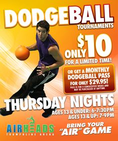 Dodgeball on trampolines, gotta try it! At AirHeads Trampoline Arena