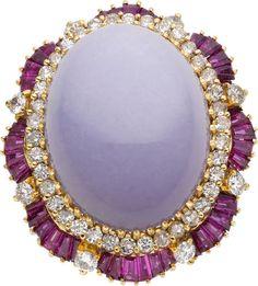 Lavender Jade, Diamond, Ruby, Gold Ring.