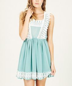Take a look at this Green & Cream Crochet Heidi Dress by Sugarhill Boutique on #zulily today!