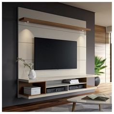George Oliver Lemington Entertainment Center for TVs with up to 65 # living space designs - Living room tv wall - Entertainment Tv Cabinet Design, Tv Wall Design, Design Case, House Design, Hall Design, Set Design, Tv Unit Decor, Tv Wall Decor, Diy Wall