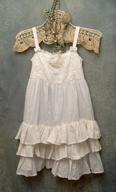 Girls ruffled cotton dress with eyelet lace, by Resurrection Rags.  So very sweet.