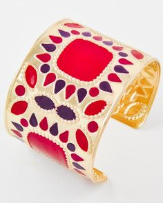 Gold Tone / Red Epoxy / Lead Compliant / Cuff Bracelet