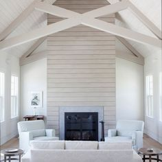 Tongue And Groove Vaulted Ceiling Design Ideas, Pictures, Remodel and Decor. home decor and interior decorating ideas. lake home. Shiplap Fireplace, Modern Fireplace, Fireplace Design, Simple Fireplace, Bedroom Fireplace, Fireplace Remodel, Gas Fireplace, Mantel Styling, Foyers