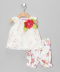Take a look at this White & Pink Flower Bow Dress & Bloomers - Infant & Toddler on zulily today!