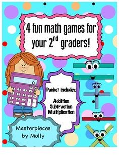 Included are 4 math games ranging from low ability to gifted ability. The functions include: addition, subtraction, and multiplication. You will need dice and a deck of cards. This would be perfect for math stations! Olympic Games For Kids, Carnival Games For Kids, Games For Teens, Kids Party Games, Math Board Games, Fun Math Games, Math Activities, Kindergarten Games, Preschool Games
