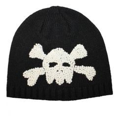 Baby Boy Black Beanie with Skull and Crossbones