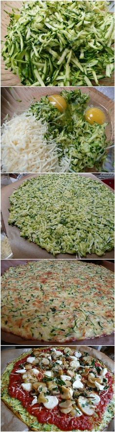 Zucchini Crust Pizza ~ Ladies, you will love this recipe! Isn't it just a drea… Zucchini Crust Pizza ~ Ladies, you will love this recipe! Isn't it just a dream to allow yourself to eat a slice of pizza while you're still keeping your dietary restrictions? Healthy Cooking, Healthy Snacks, Healthy Eating, Cooking Recipes, Healthy Carbs, Breakfast Healthy, No Flour Recipes, No Carb Dinner Recipes, Tapioca Flour Recipes