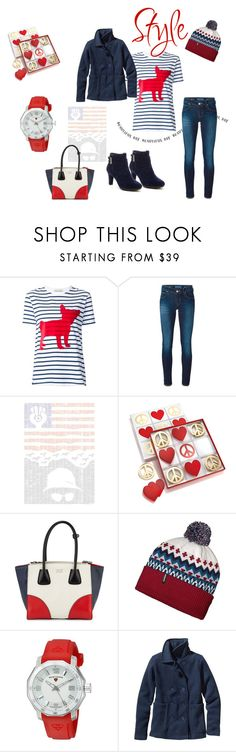 """""""Red and blue"""" by kaitlyn-obrien ❤ liked on Polyvore featuring Être Cécile, Jacob Cohёn, Spineless Classics, Jonathan Adler, Prada, Patagonia, Swiss Legend and Anne Klein"""