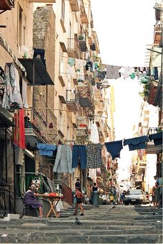 Spacca Napoli Naples district also known as Santa Lucia looks like a fifties still have not stopped.