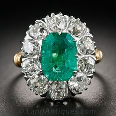 This brilliant and beautiful bauble, dating from the early-twentieth century, packs a definate wallop with a central bright green 2.75 carat...