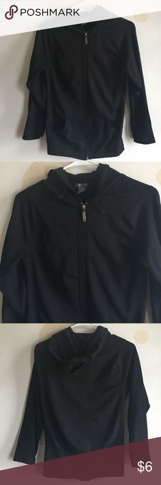 Black zip up sweater Gently worn hooded sweater. In great condition. Fits like body con . Tight fit with stretch Sweaters